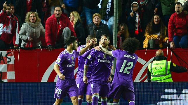 Sergio Ramos tras marcarle el gol al Sevilla FC