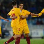 Ben Yedder celebra uno de sus tres goles en Anoeta en el Real Sociedad-Sevilla FC