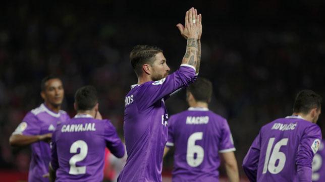 Sergio Ramos, tras su gol de penalti (Foto: Reuters).