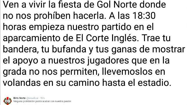 Tweet de Biris Norte para acompañar hoy al Sevilla (Foto: @birisoficial)