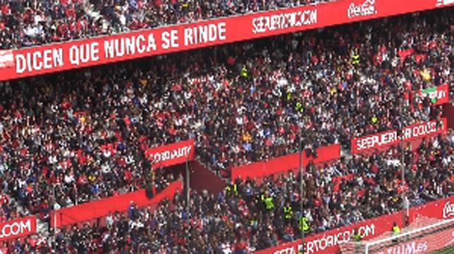 Foto de la grada donde se ubican los Biris en el Sánchez-Pizjuán, en el Sevilla FC-Villarreal