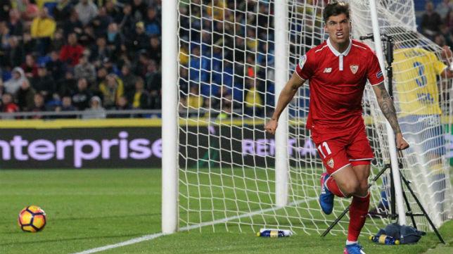 Joaquín Correa celebra el gol que le marcó a la UD Las Palmas (Foto: EFE)