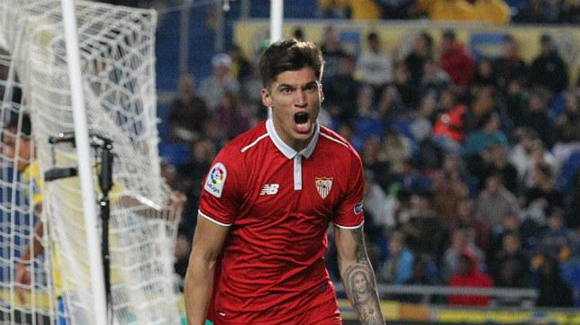 Correa celebra su gol a la UD Las Palmas que valió para la victoria del Sevilla FC