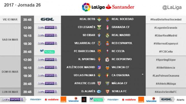Horarios de la jornada 26ª en la que se disputa el Alavés-Sevilla FC