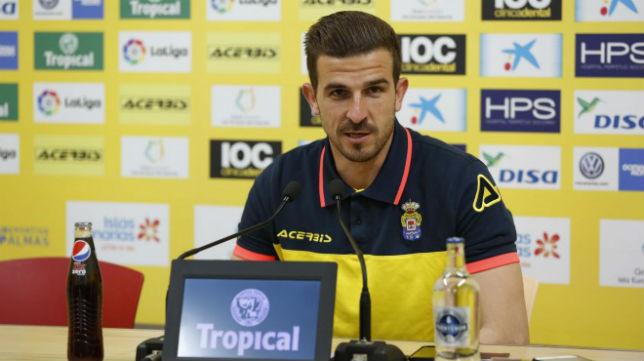 Javi Varas, portero de Las Palmas, en la rueda de prensa de este viernes (Foto: UD. Las Palmas)