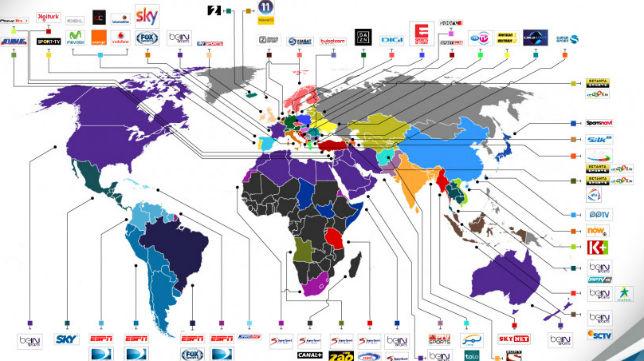 Imagen de los países en los que se podrá ver el derbi