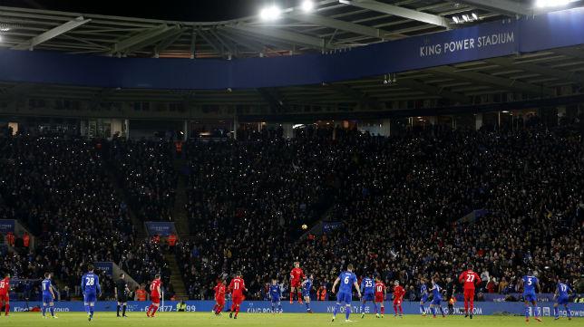 Imagen de la grada en el partido que el Leicester jugó contra el Liverpool en su estadio el pasado 27 de febrero