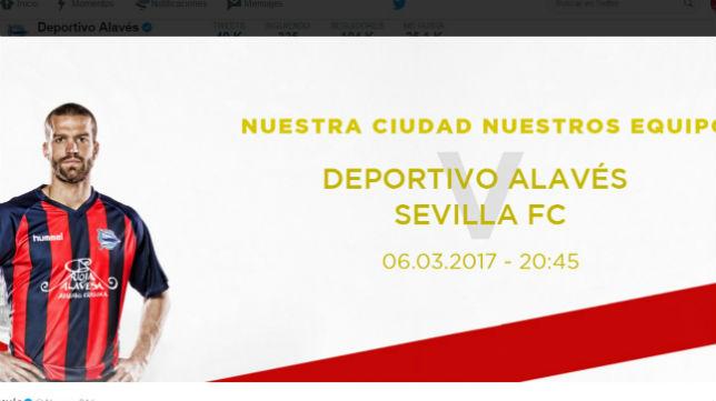 Imagen de los colores que lucirá hoy el Deportivo Alavés ante el Sevilla (Foto: www.deportivoalaves.com)
