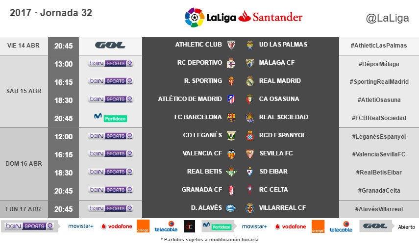 Horarios de la Jornada 32ª de LaLiga Santander