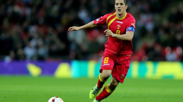 Stevan Jovetic, con la selección de Montenegro