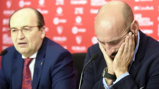 Monchi y José Castro, en la despedida del director deportivo del Sevilla (Foto: Jesús Spínola)