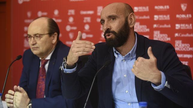 Monchi, junto a Castro, en su despedida del Sevilla (Foto: J. Spínola)