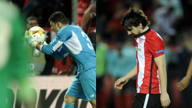 Beñat y David Soria, los protagonistas de la tanda de penaltis de la Europa League entre el Sevilla y el Athletic