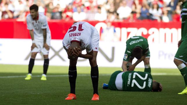 Nzonzi, tras un choque con el jugador del Leganés Siovas