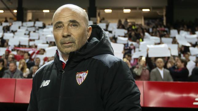 Sampaoli, antes del arranque del Sevilla FC-Athletic, partido de la 25 jornada 2016-2017