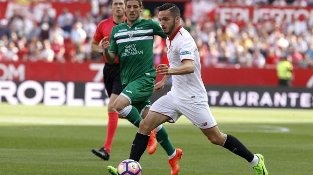 Sarabia, en un lance del Sevilla FC-CD Leganés (Foto: J. M. Serrano)