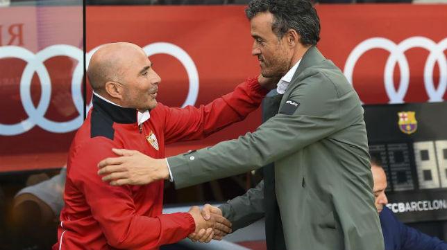 Sampaoli y Luis Enrique se saludan
