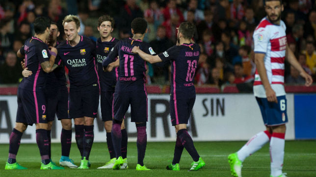 Rakitic, el domingo, tras marcar su gol al Granada