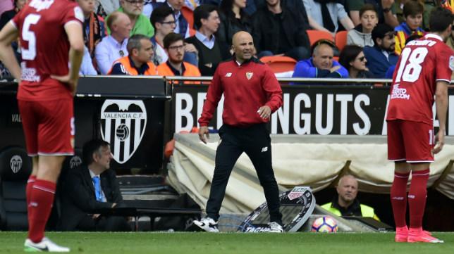 Sampaoli, durante el Valencia-Sevilla FC