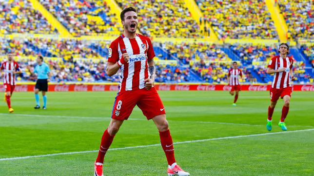 Saúl celebra su gol a la UD Las Palmas