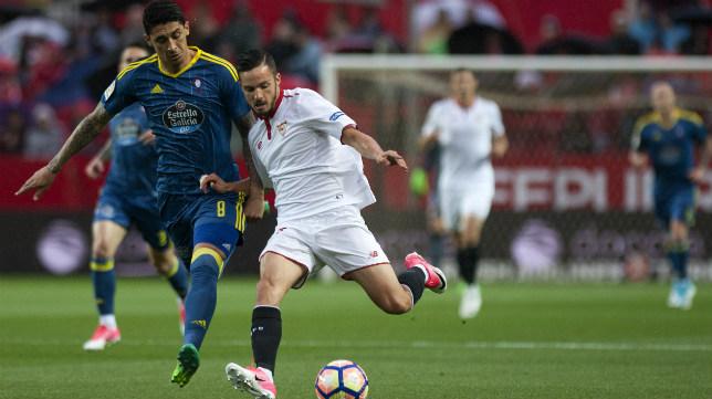 Sarabia, en un lance del Sevilla FC-Celta