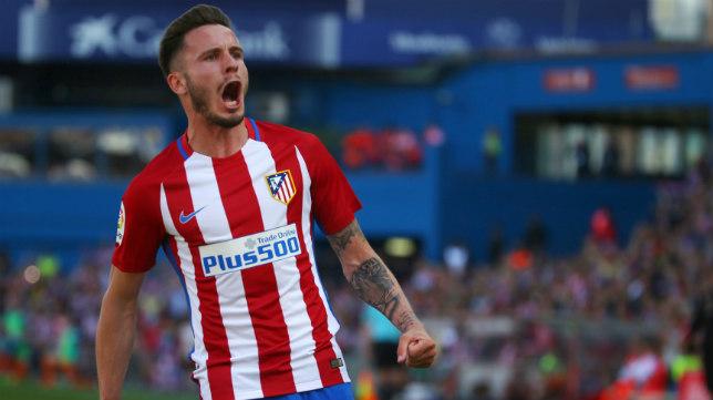 Saúl celebra el gol de la victoria del Atlético ante el Eibar