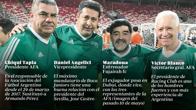 A la derecha, Blanco, con los otros dos representantes de la AFA y Maradona en Dubai (imagen del pasado 10 de mayo)