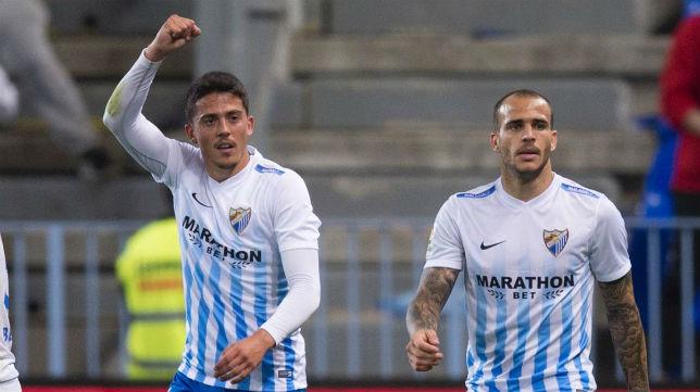 Pablo Fornals celebra su gol al Sevilla en La Rosaleda