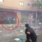 Imagen de los incidentes del pasado miércoles en Madrid en los aledaños del Vicente Calderón