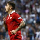 Jovetic celebra su gol en el Real Madrid-Sevilla FC