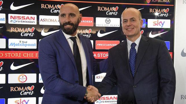 Ramón Rodríguez 'Monchi, en su presentación como director deportivo de la Roma (Foto: AS. Roma)