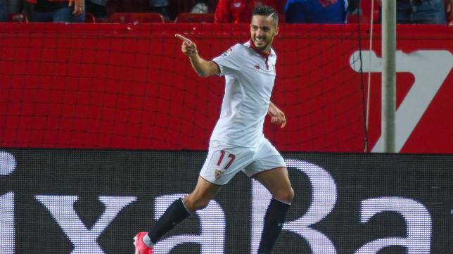 Sarabia celebra su gol en el Sevilla FC-Real Sociedad