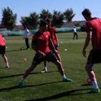 Vitolo, en el entrenamiento de este martes con el Sevilla (Foto: sevillafc.es)