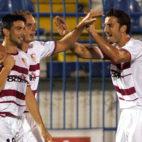 Martí, Kepa y Puerta celebran un gol del Sevilla FC (Foto: Lolo Sánchez)