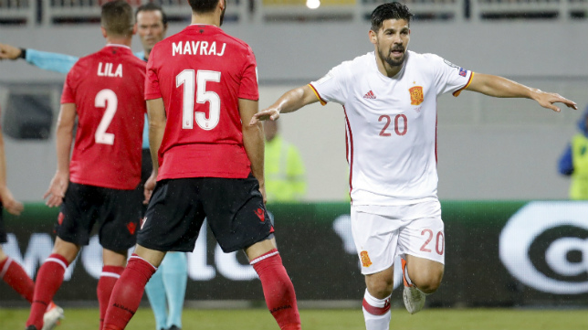 Nolito celebra su gol a Albania con la selección española el pasado mes de octubre
