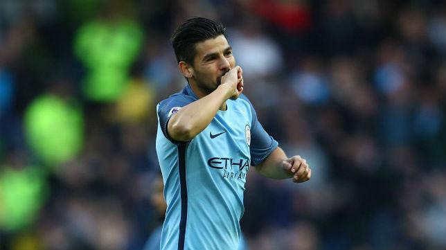 Nolito celebra un gol con el City