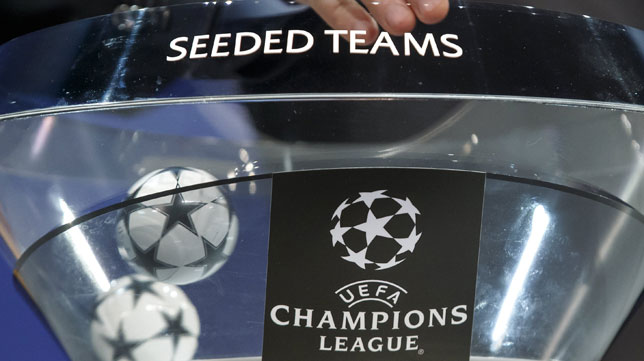 Imagen del sorteo de la previa de la Liga de Campeones (foto: EFE/SALVATORE DI NOLFI)