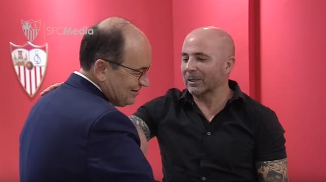 José Castro y Jorge Sampaoli, este jueves en el Trofeo Puerta