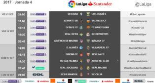 Horarios de la Jornada 4 de LaLiga Santander