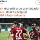 El tweet de la cuenta oficial del Milan sobre Antonio Puerta