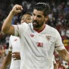 Nolito celebra su primer gol con la camiseta del Sevilla (Foto: EFE)
