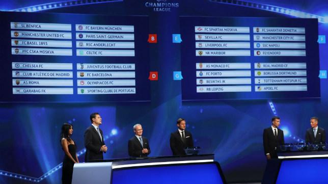 Imagen del sorteo de Champions, con el Sevilla FC en el grupo E
