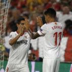 Correa y Ben Yedder, en el Sevilla-Maribor (Juan Manuel Serrano)