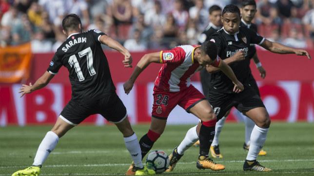 Acción del Girona-Sevilla FC