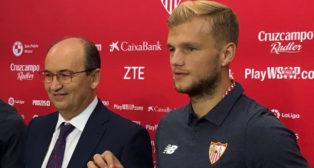 Geis y José Castro, en la presentación del futbolista alemán