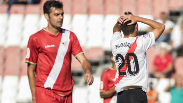 Marc Gual se lamenta tras fallar una buena ocasión del Sevilla Atlético. Foto: LaLiga