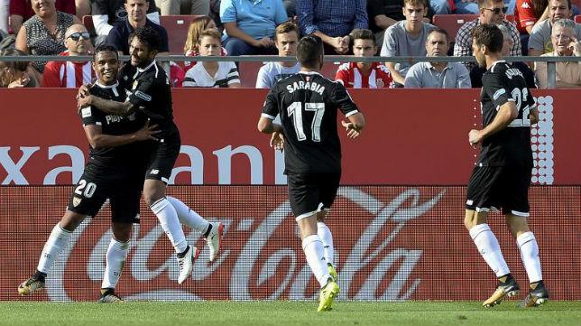 Muriel celebra el gol con sus compañeros (AFP)