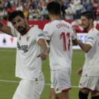 Nolito celebra el 3-0 en el Sevilla FC-Eibar. Foto: Juan Flores