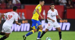 Ganso, Vitolo y Navas, en el Sevilla-Las Palmas (J. J. Úbeda)
