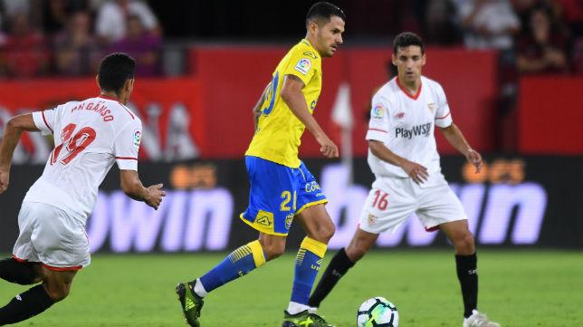 Vitolo, ayer en el estadio sevillista